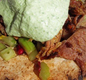 Slow Cooked Turkish-Style White Pyranees Lamb Shoulder, Cucumber, Coriander, Pomegranate, Green Olive & Pistachio Salad